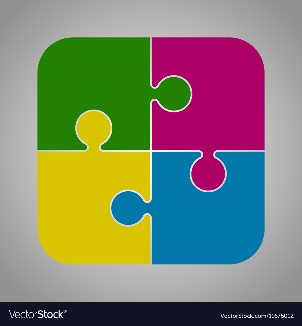 Four Color Piece Puzzle Round Infographic 4 Step vector image
