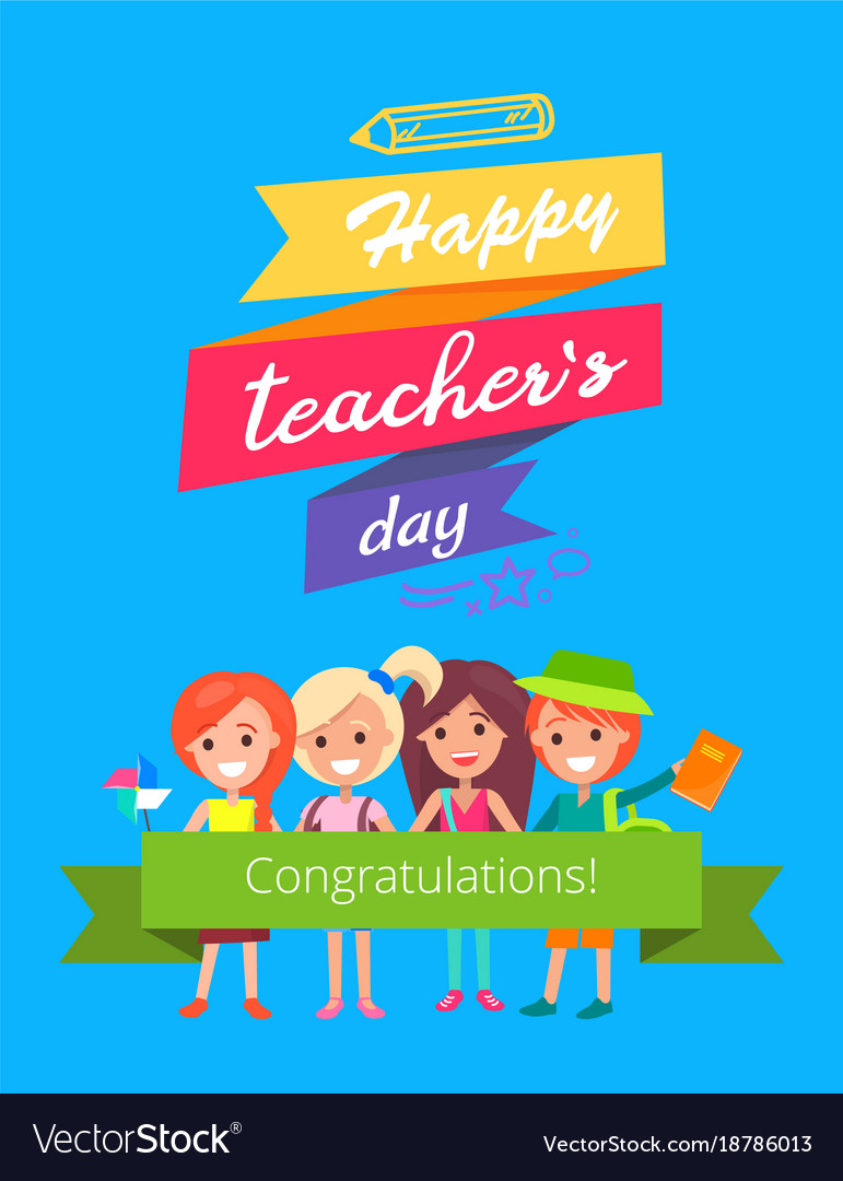 Happy teachers day promo vector image