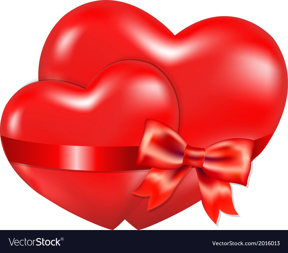 Two Red Hearts With Red Bow vector image