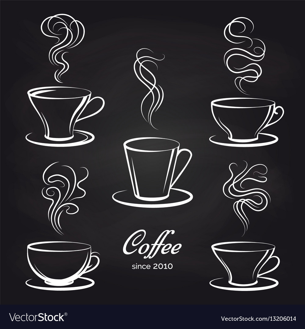 Coffee cups with smoke on blackboard vector image