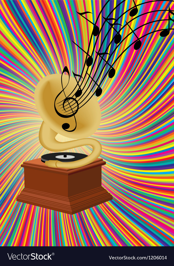 Gramophone playing music on colorful background vector image