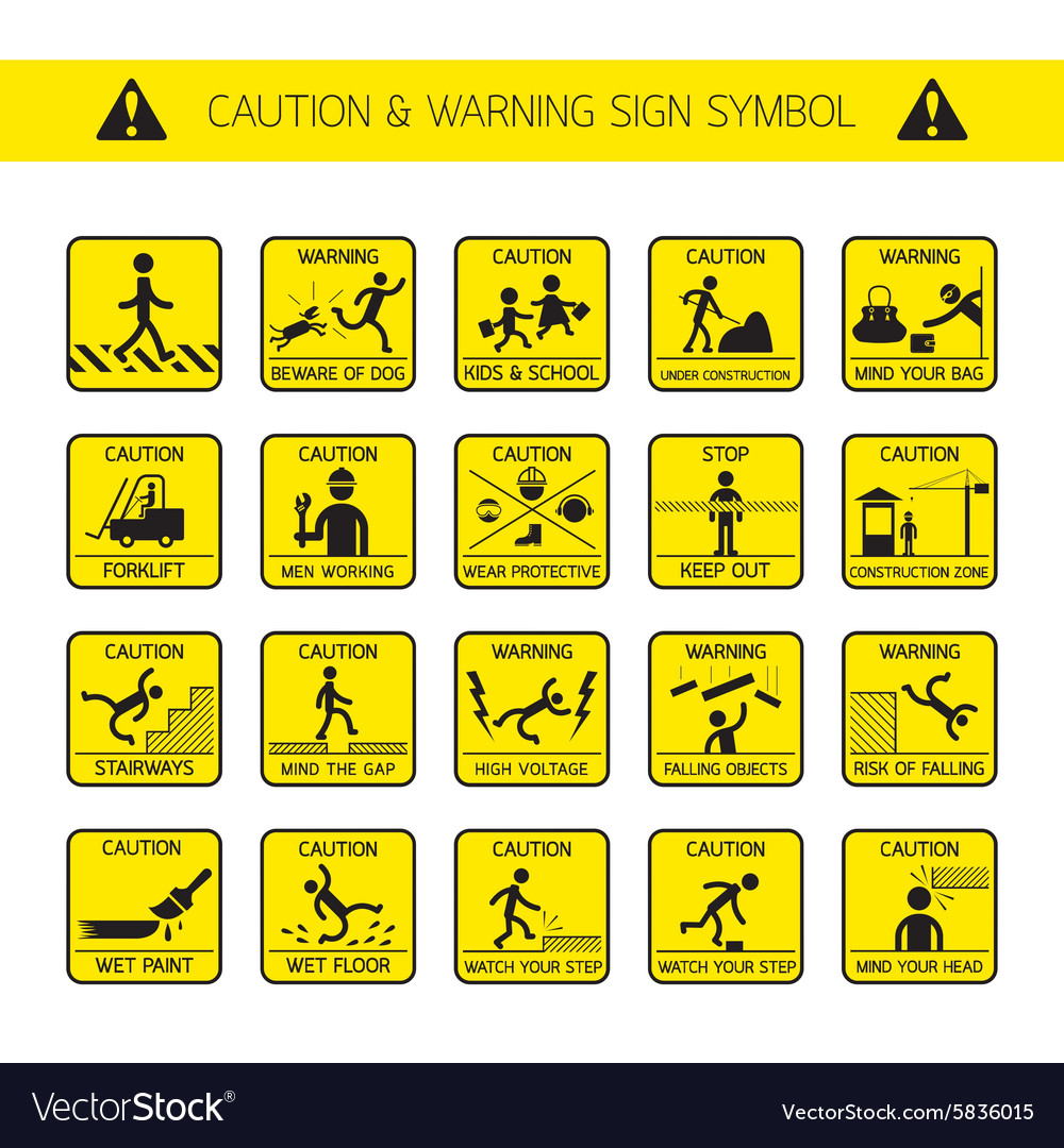 Caution and Warning Signs in Public Construction vector image