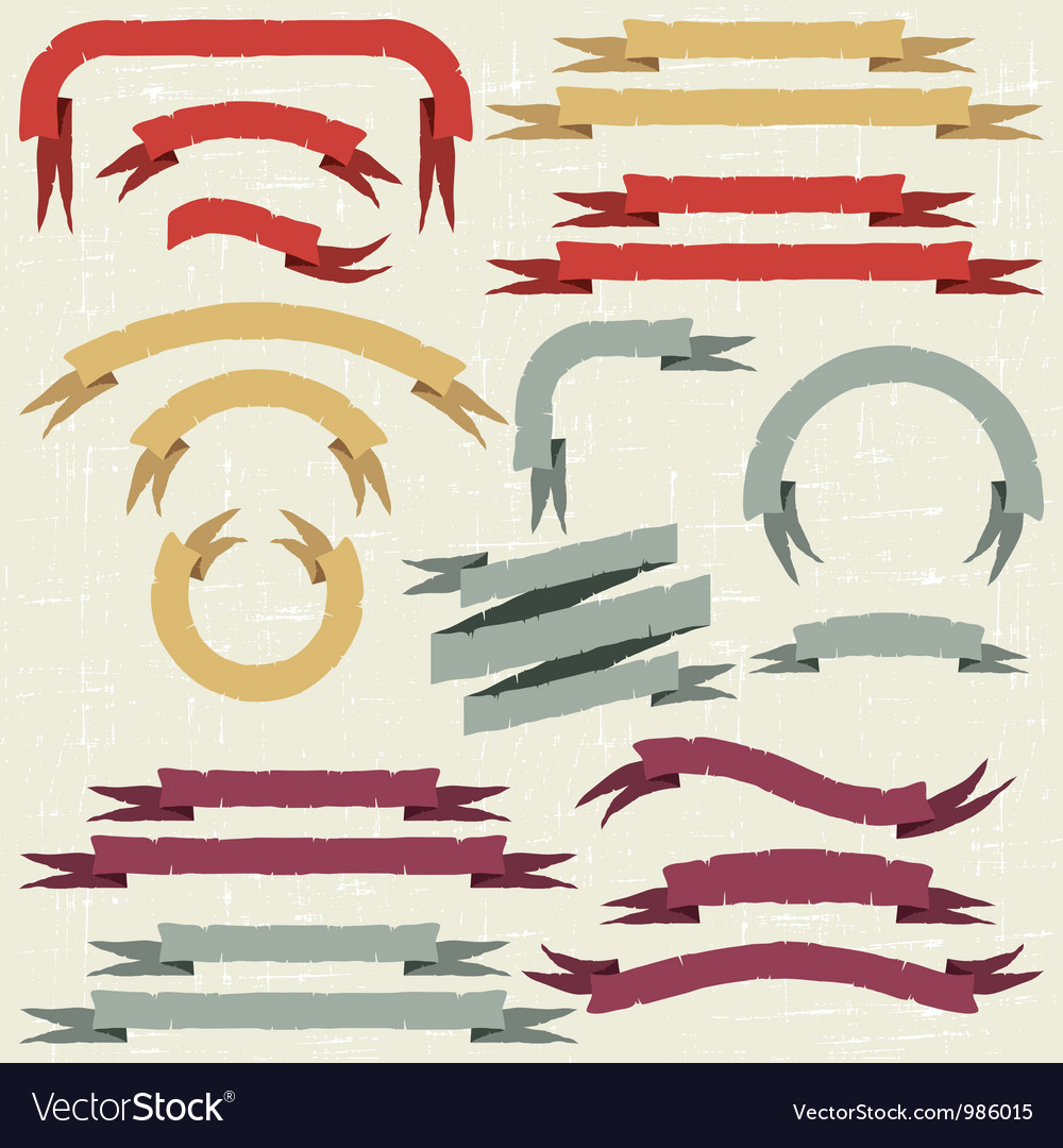 Retro ribbons and labels vector image