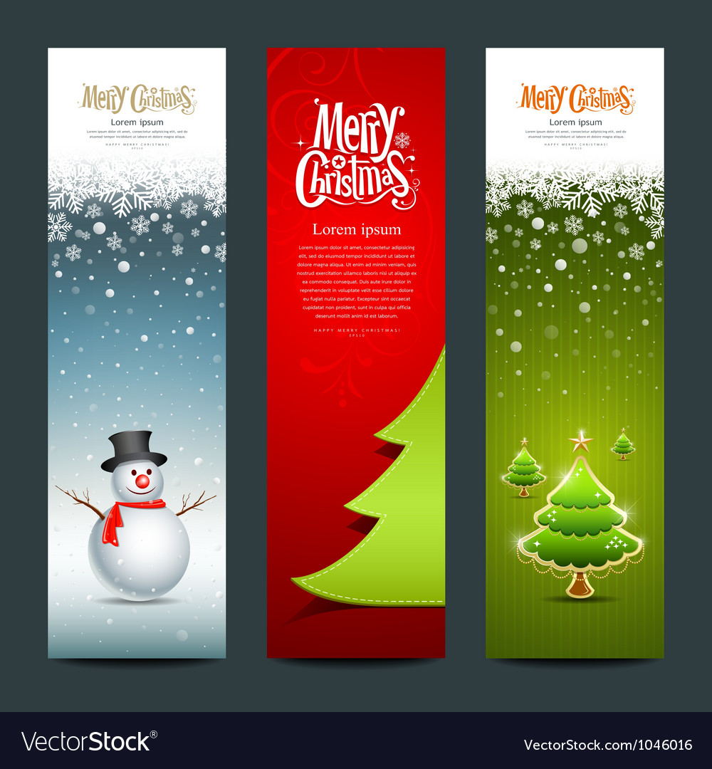 Merry Christmas banner design set vector image