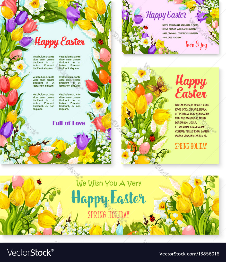 Easter banner template set with egg and flower vector image