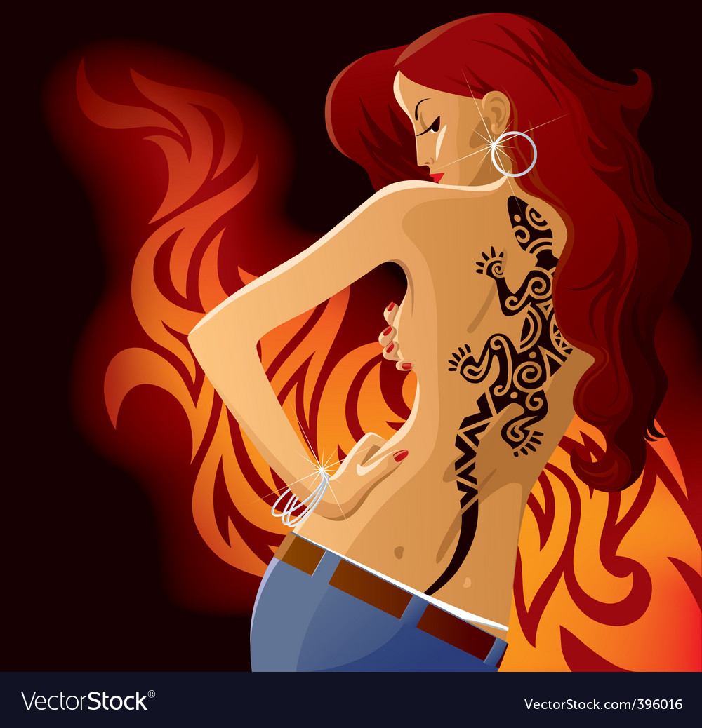 Girl with tattoo vector image