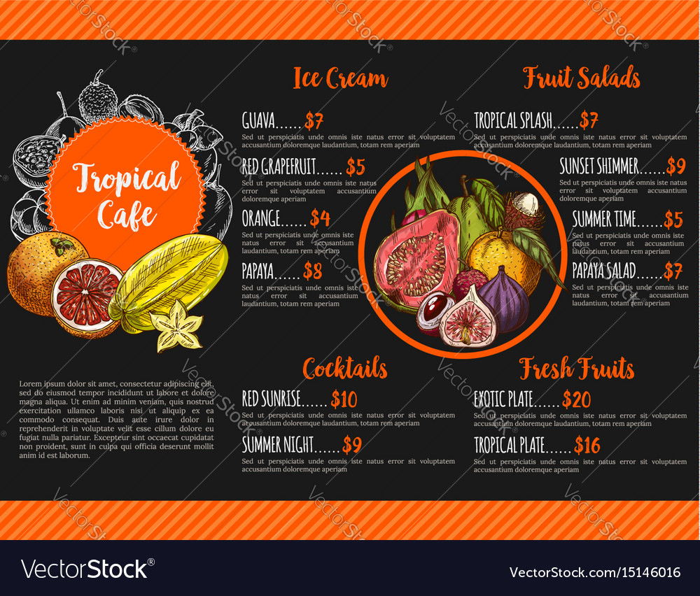 Menu for tropical exotic fruit cafe vector image