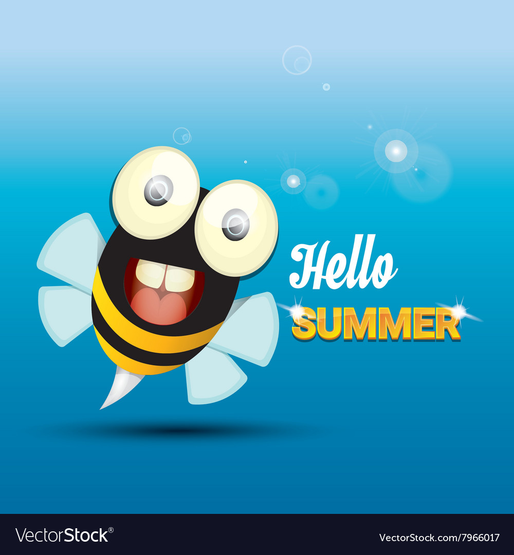 Genial Hello Summer Background Funny Cartoons Bee Vector Image