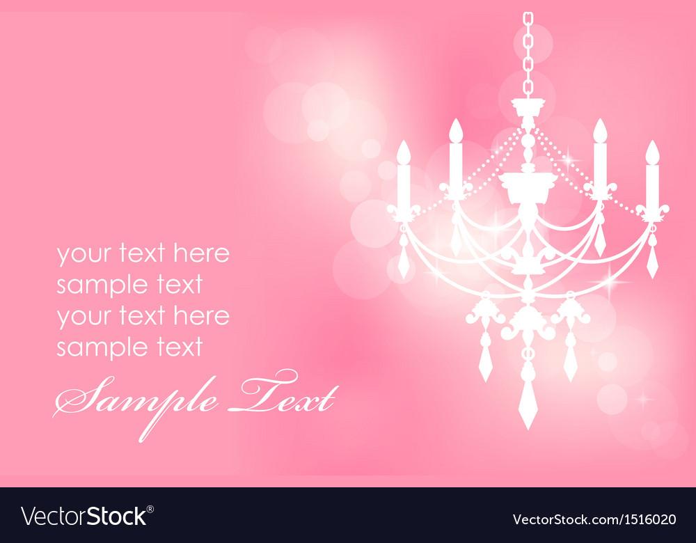 Chandelier on pink postcard vector image