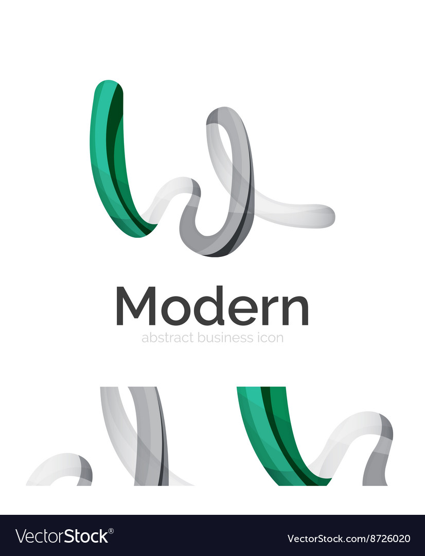 Abstract 3d swirl ribbon logo template with vector image