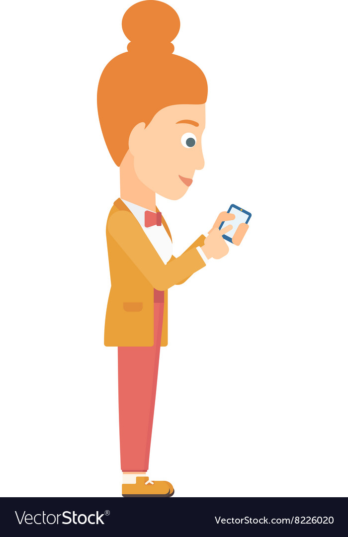 Business woman using mobile phone vector image