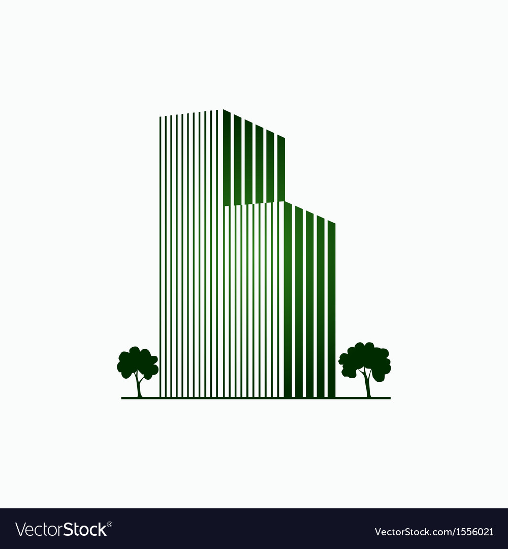 Green buildings and trees vector image