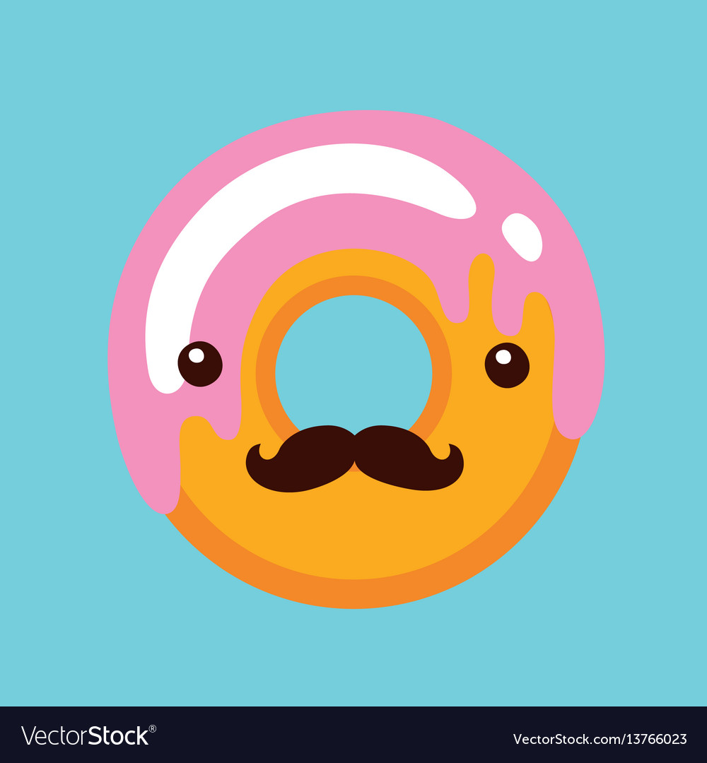 Hipster donut with cute face and mustaches vector image