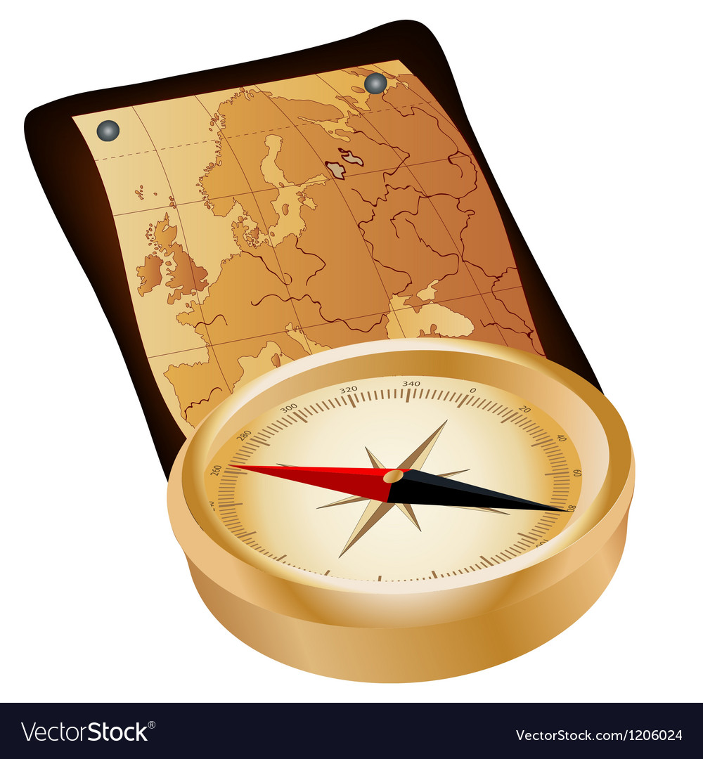 Antique compass and map vector image