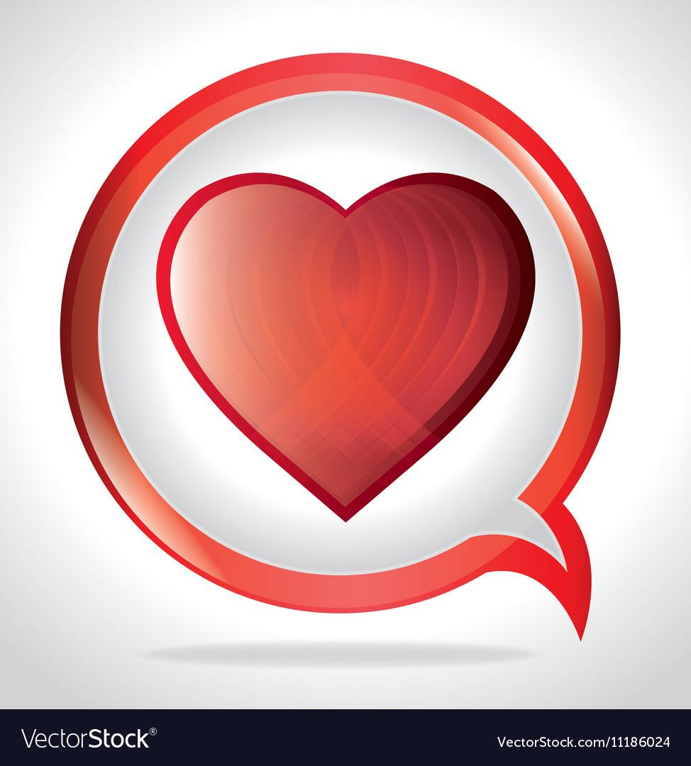 Bubble speak with big heart love vector image