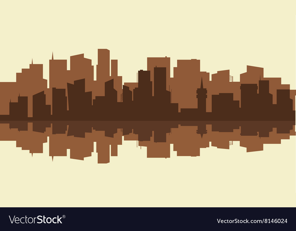 Silhouette of city with brown color vector image