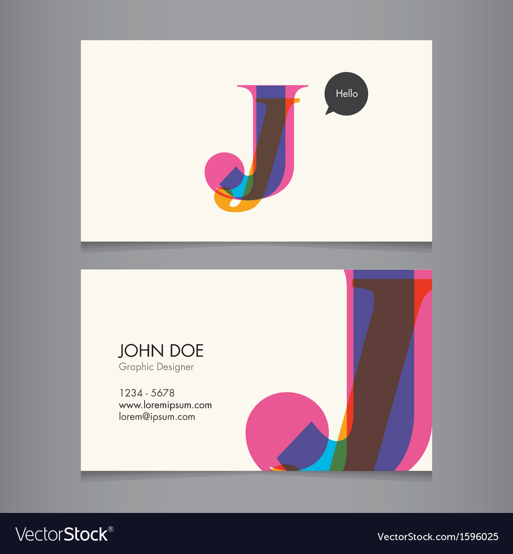 business card template letter j royalty free