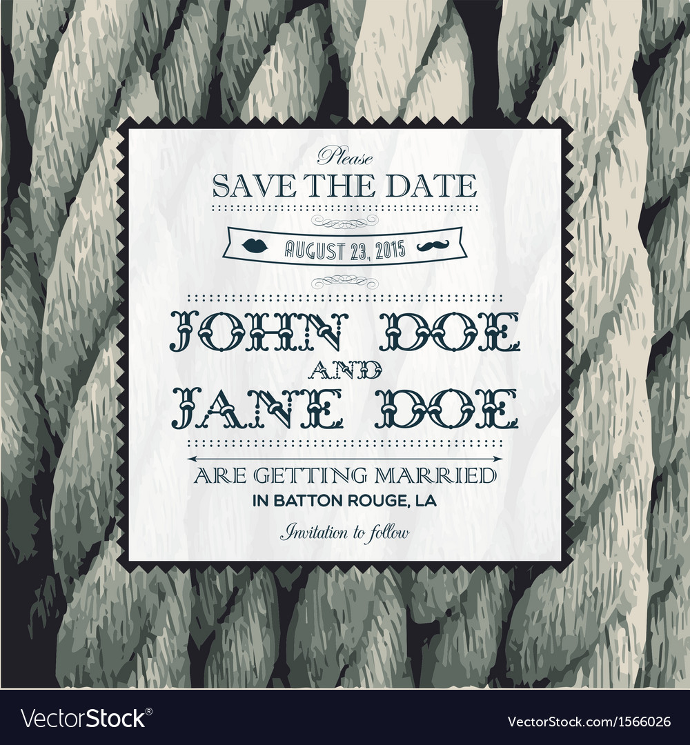 Wedding invitation rope vector image