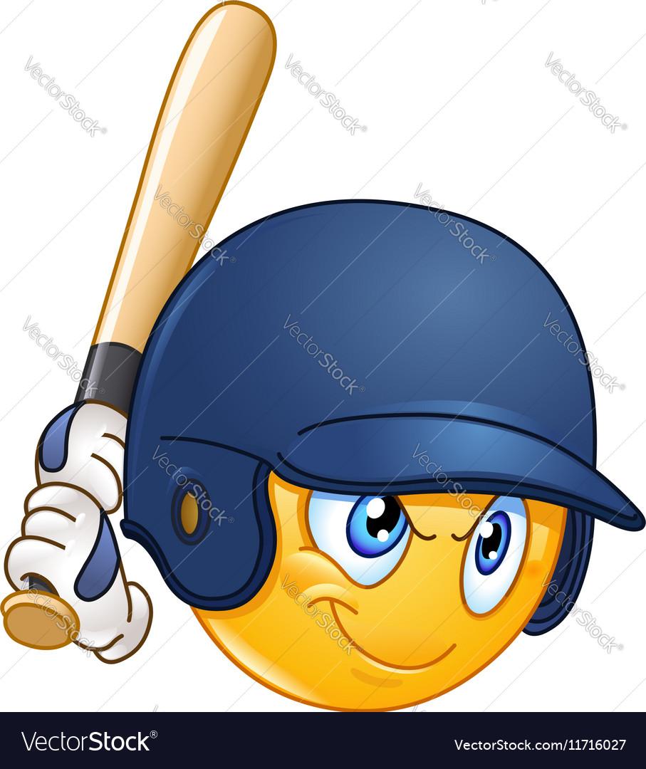 Baseball batter emoticon vector image