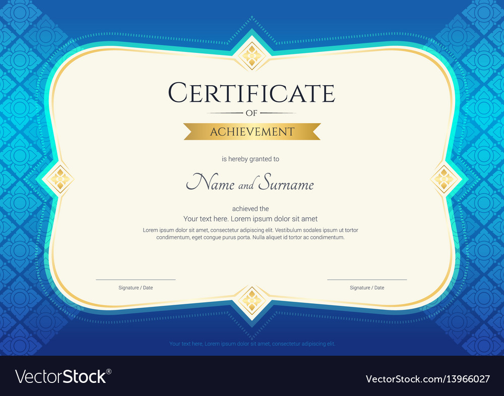 Certificate of achievement template thai art vector image certificate of achievement template thai art vector image xflitez Choice Image