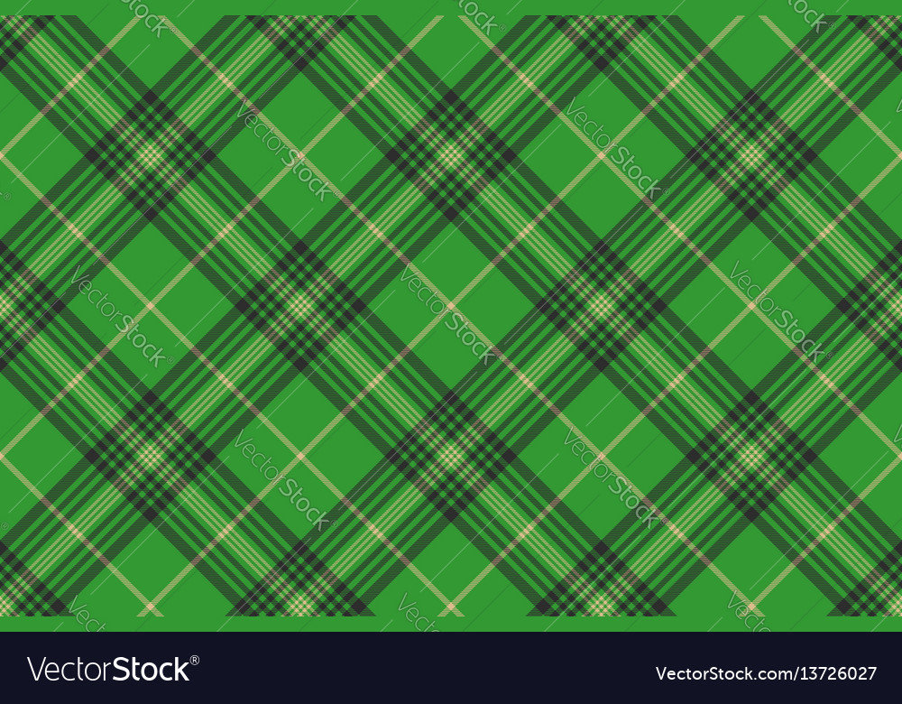 Seamless plaid green tartan check fabric texture vector image