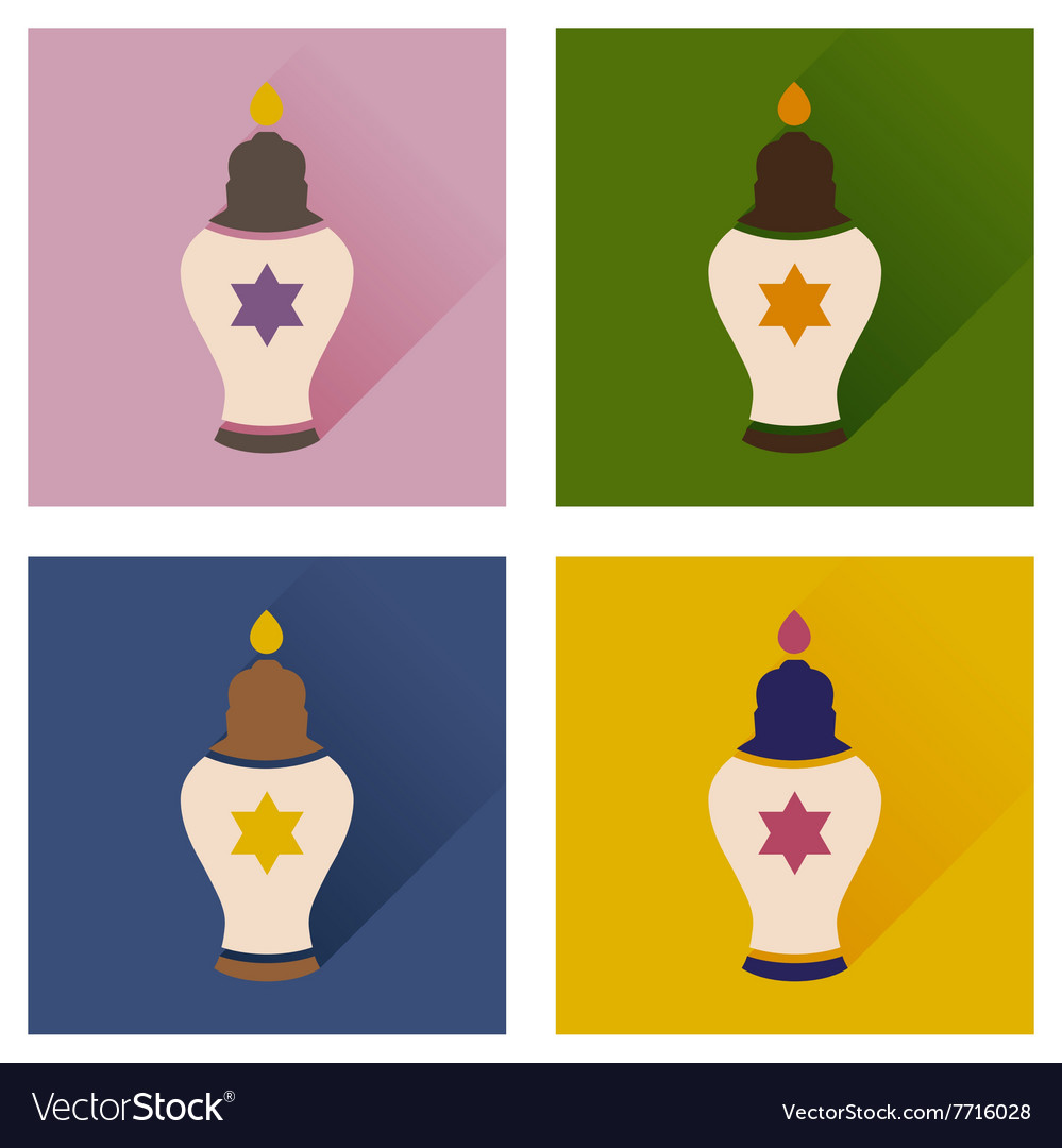 Concept of flat icons with long shadow Jewish
