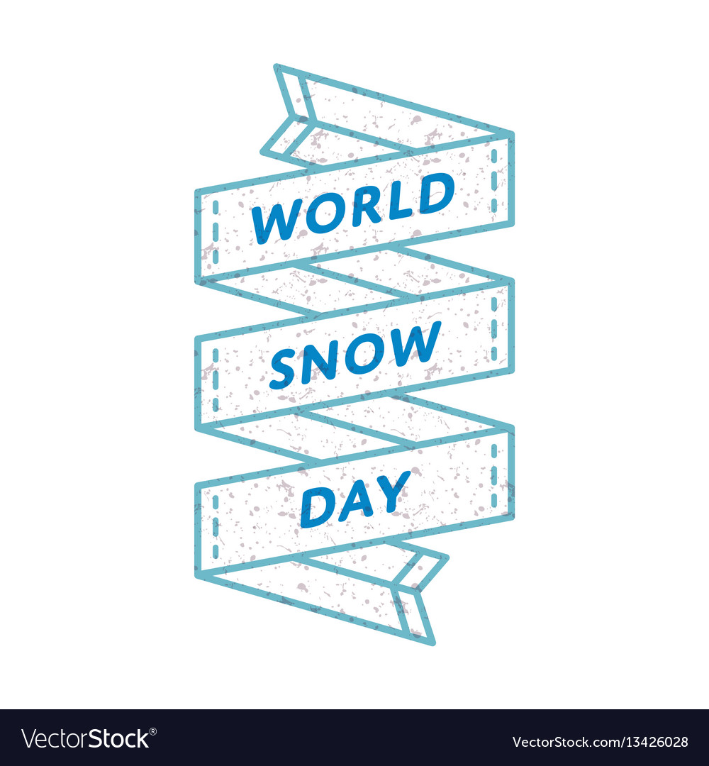 World snow day greeting emblem vector image