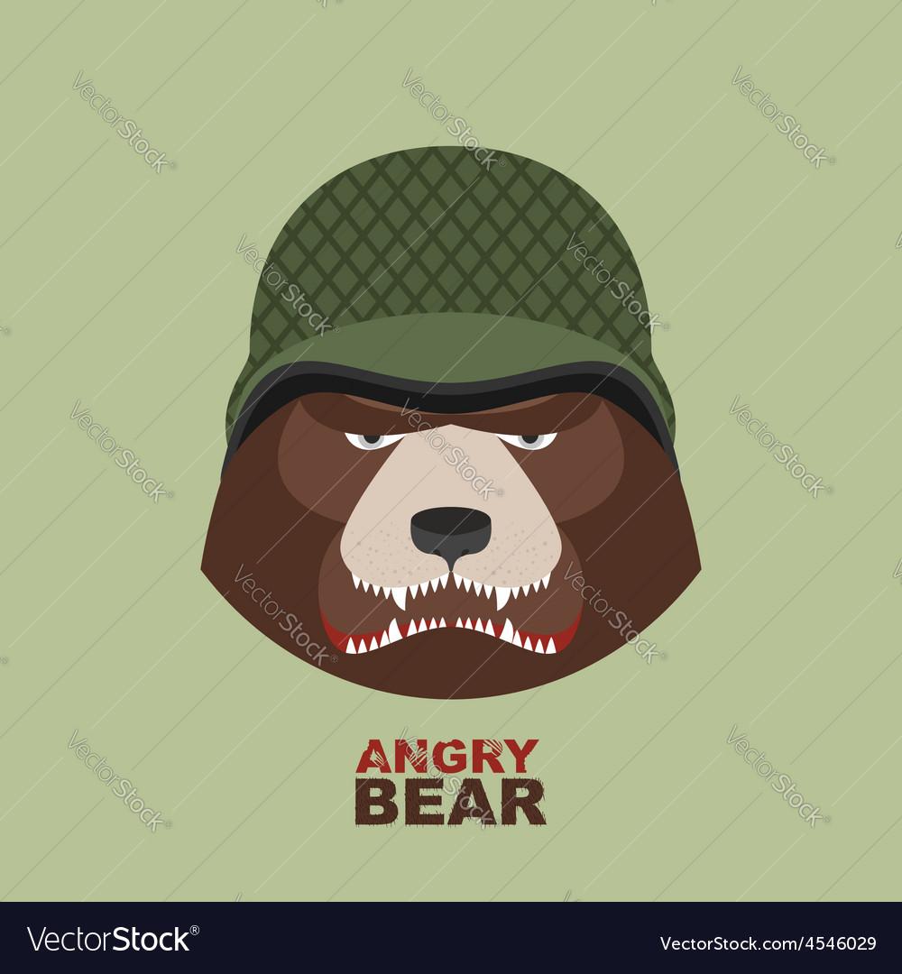 Bear soldierHead of angry bear in military helmet vector image