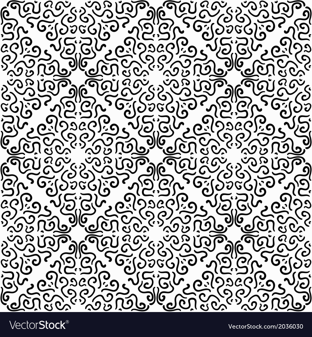 Black curly graphic pattern on white background vector image