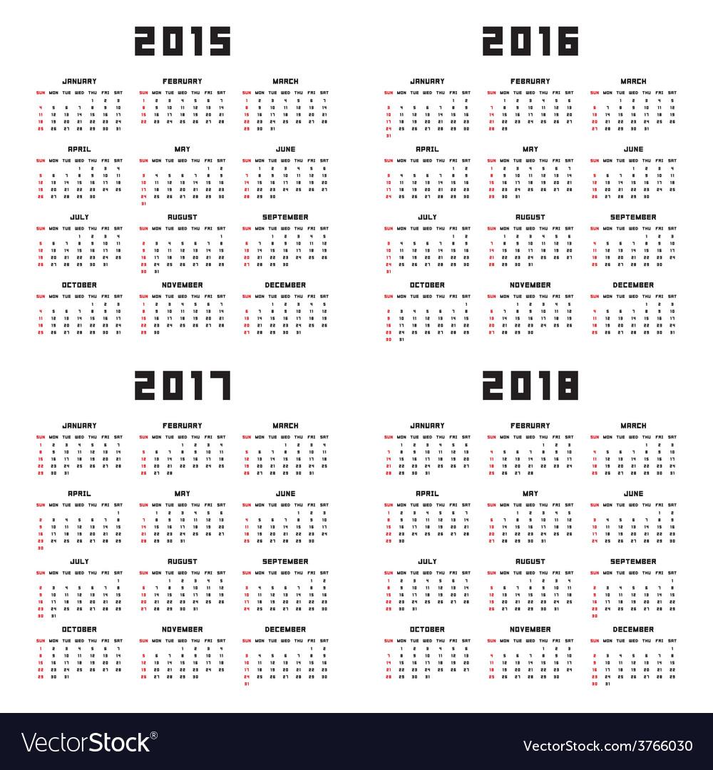 editable calendar 2015 2018