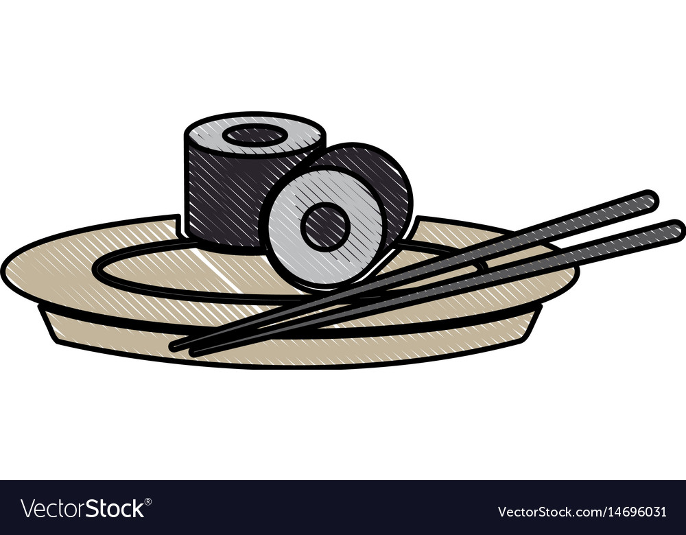 Drawing japanese sushi food dish stick culture vector image