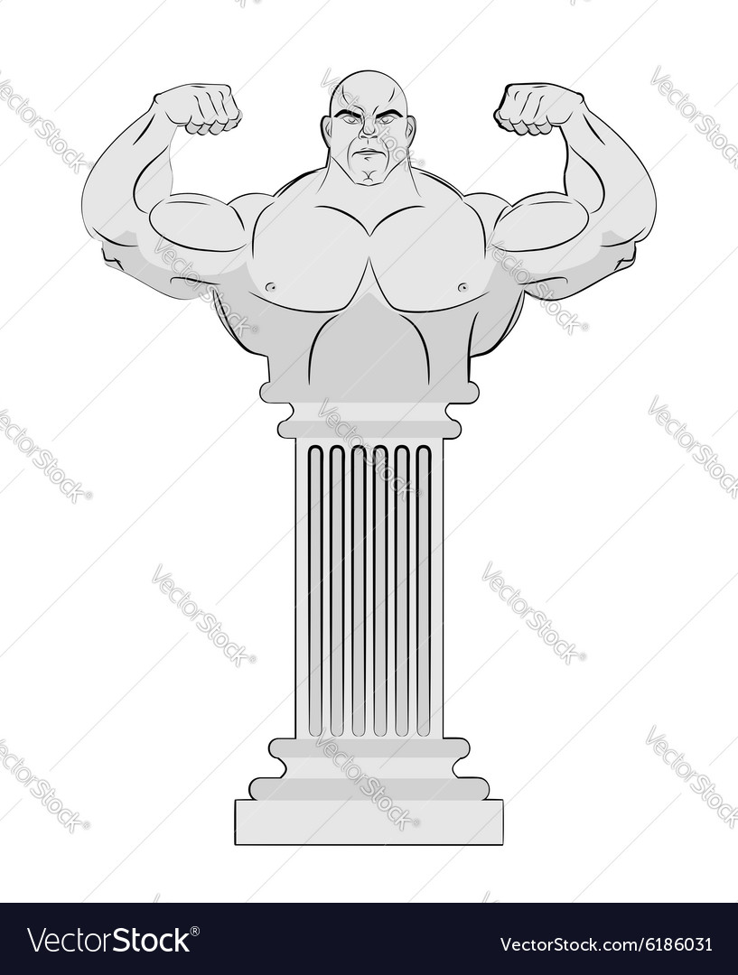 Pedestal with body of athlete Greek column with a vector image