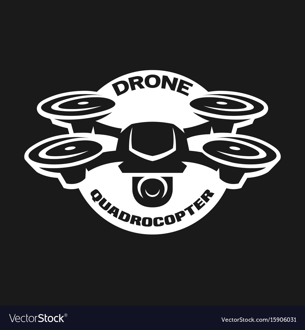 Video drone quadrocopter logo vector image