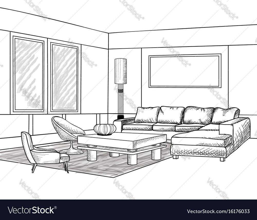 Interior outline sketch living room furniture vector image for Living room outline