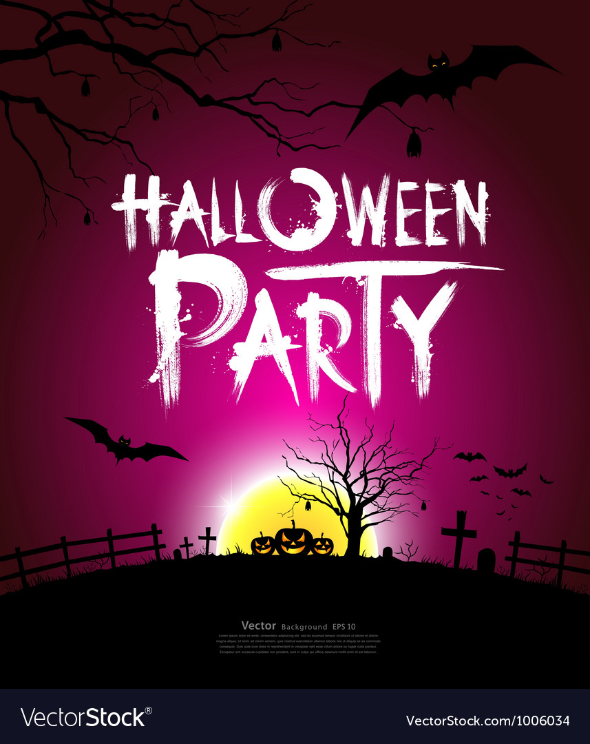 Halloween party at night background Royalty Free Vector