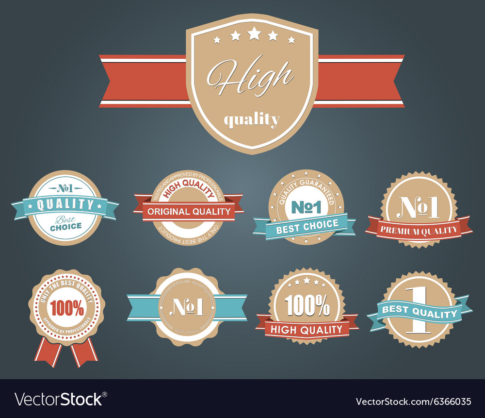 Design labels with the quality mark vector image