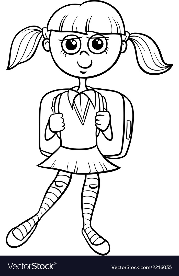 Primary School Girl Coloring Book Vector Image