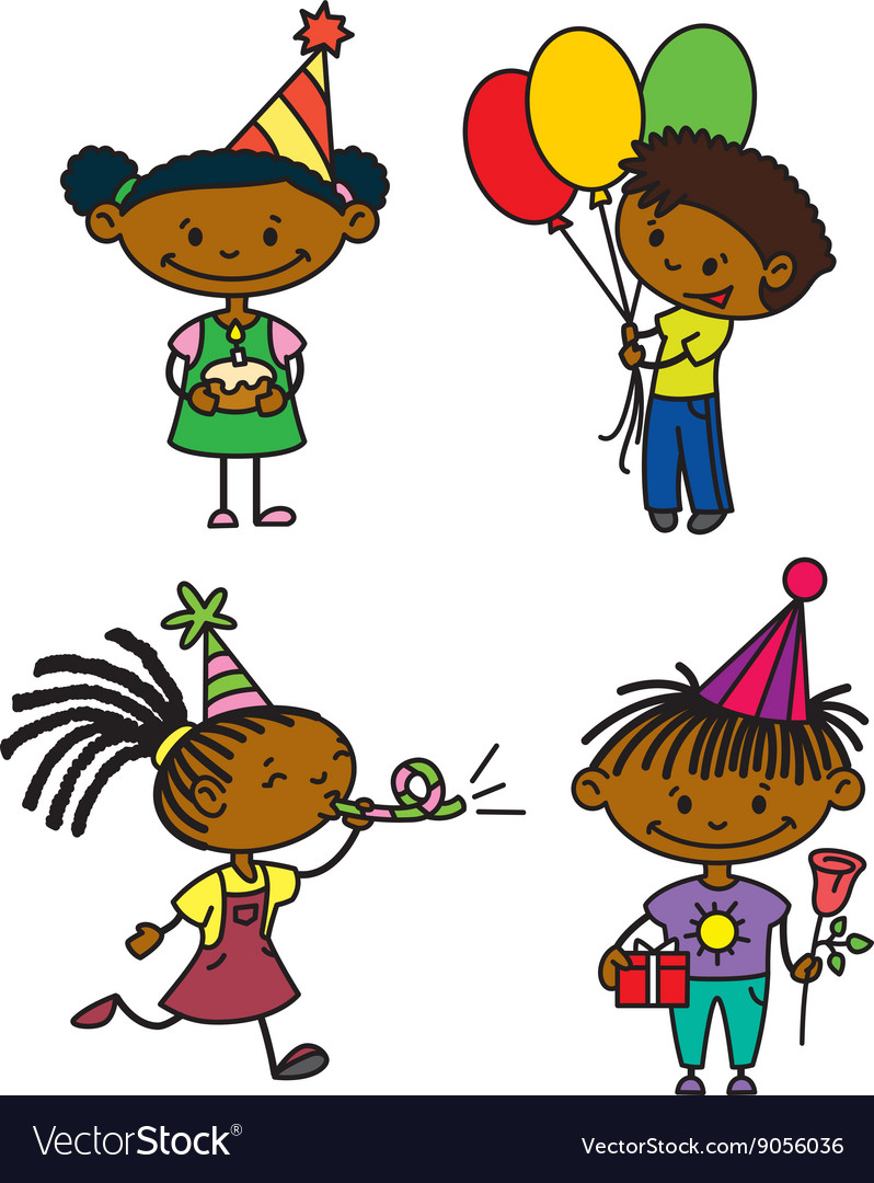 Birthday afroamerican children set vector image