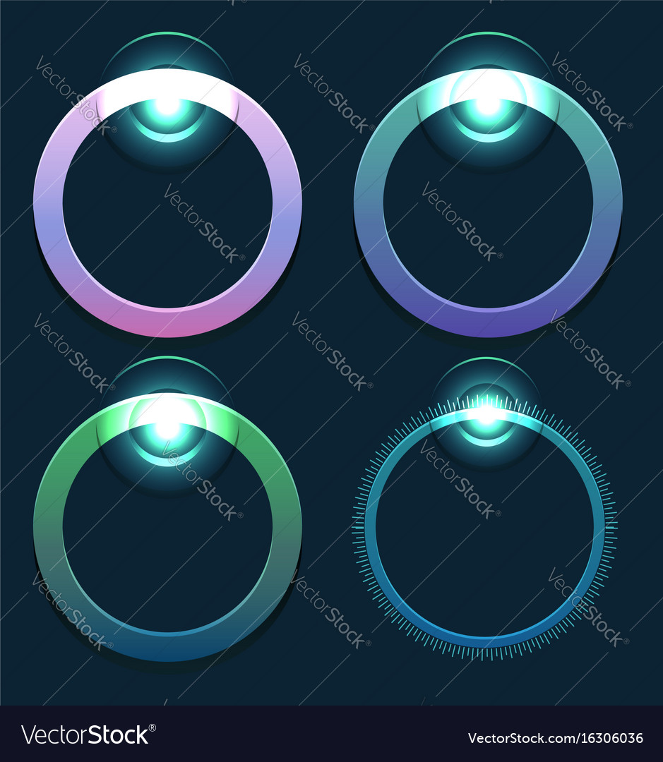Set of glowing round sliders element for web vector image
