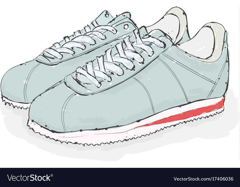 Sneakers hand draw shoes vector image