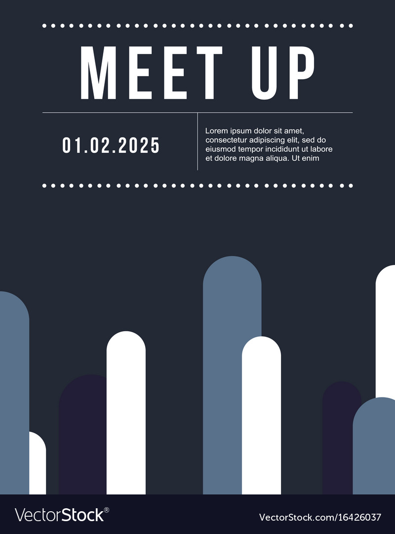 Cool colorful background meet up card design vector image