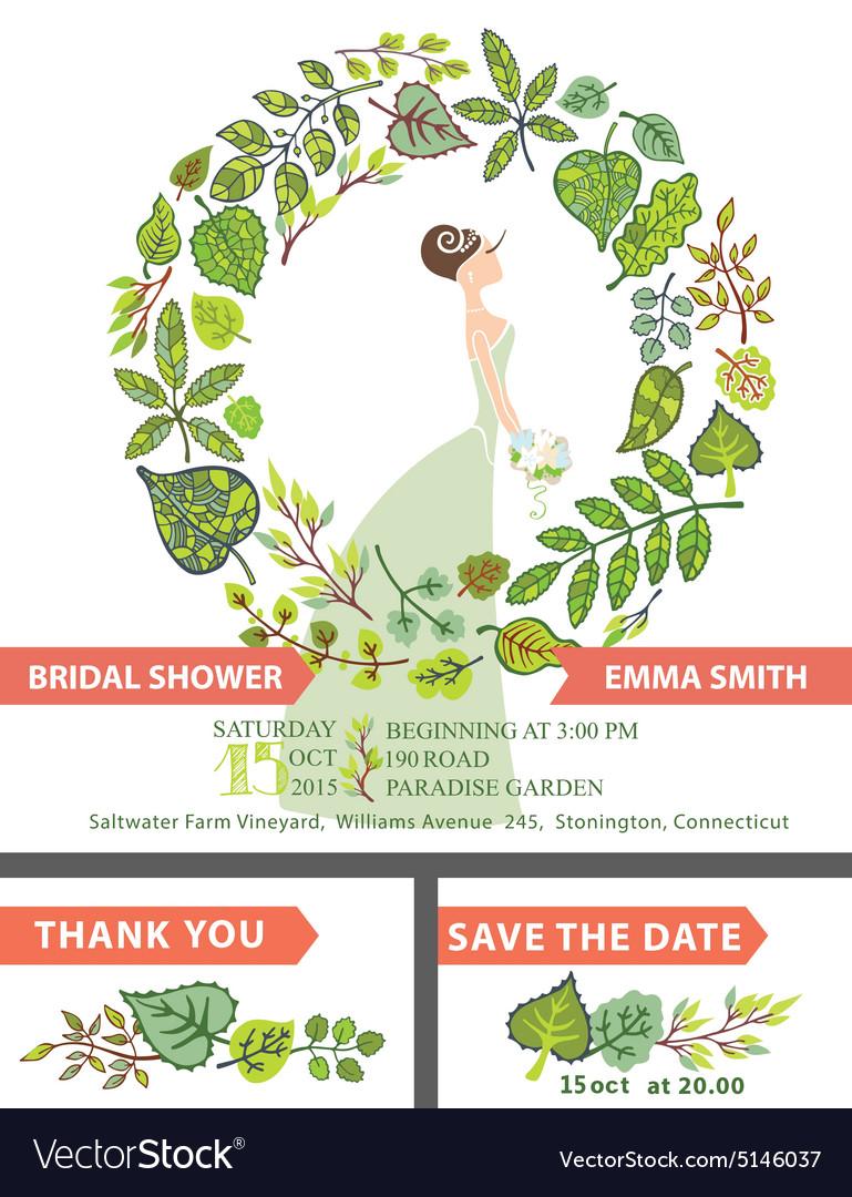 Retro bridal shower invitation setbridegreen vector image filmwisefo Gallery