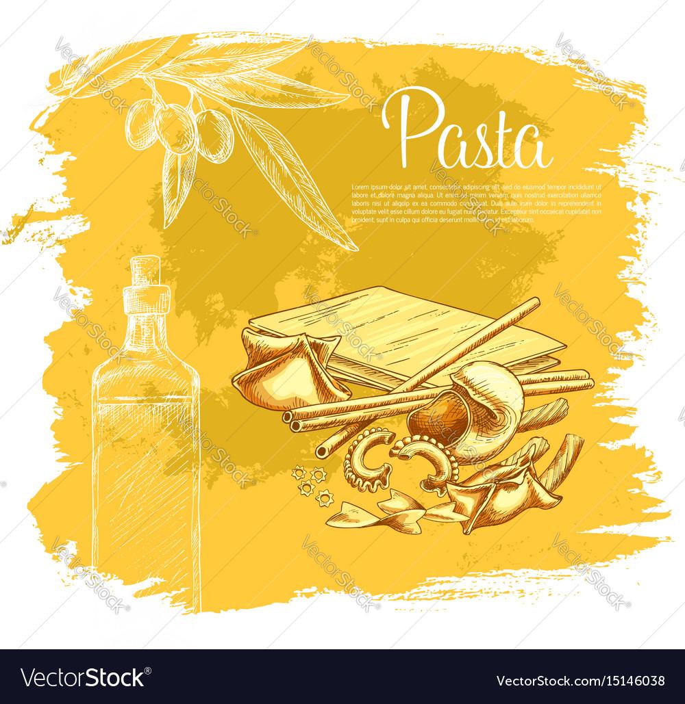 Italian pasta poster for restaurant vector image