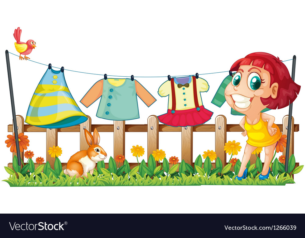 A woman hanging her clothes in the garden with a vector image