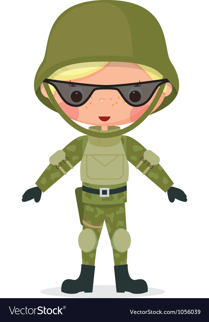 Military boy vector image