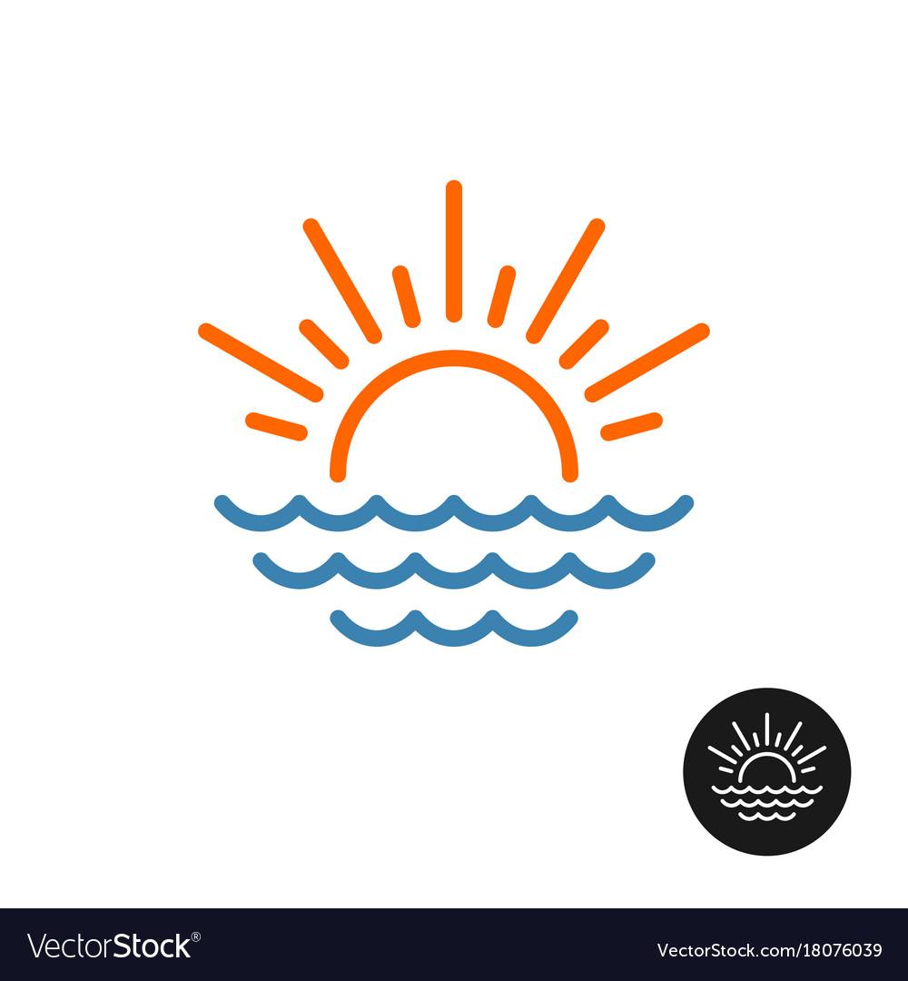 Sun rays and sea waves logo vector image