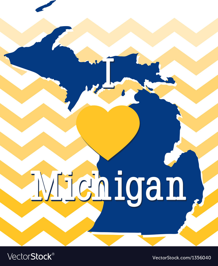 Blue and Yellow Chevron Michigan card vector image