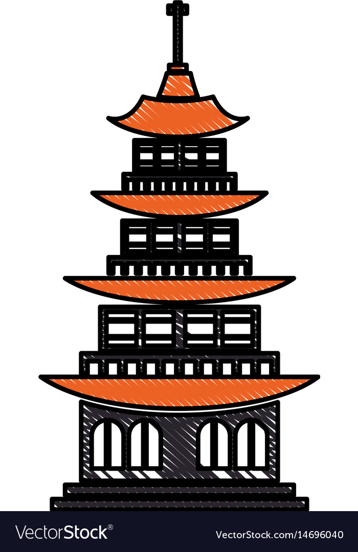 Drawing chinese building ancient temple tower vector image