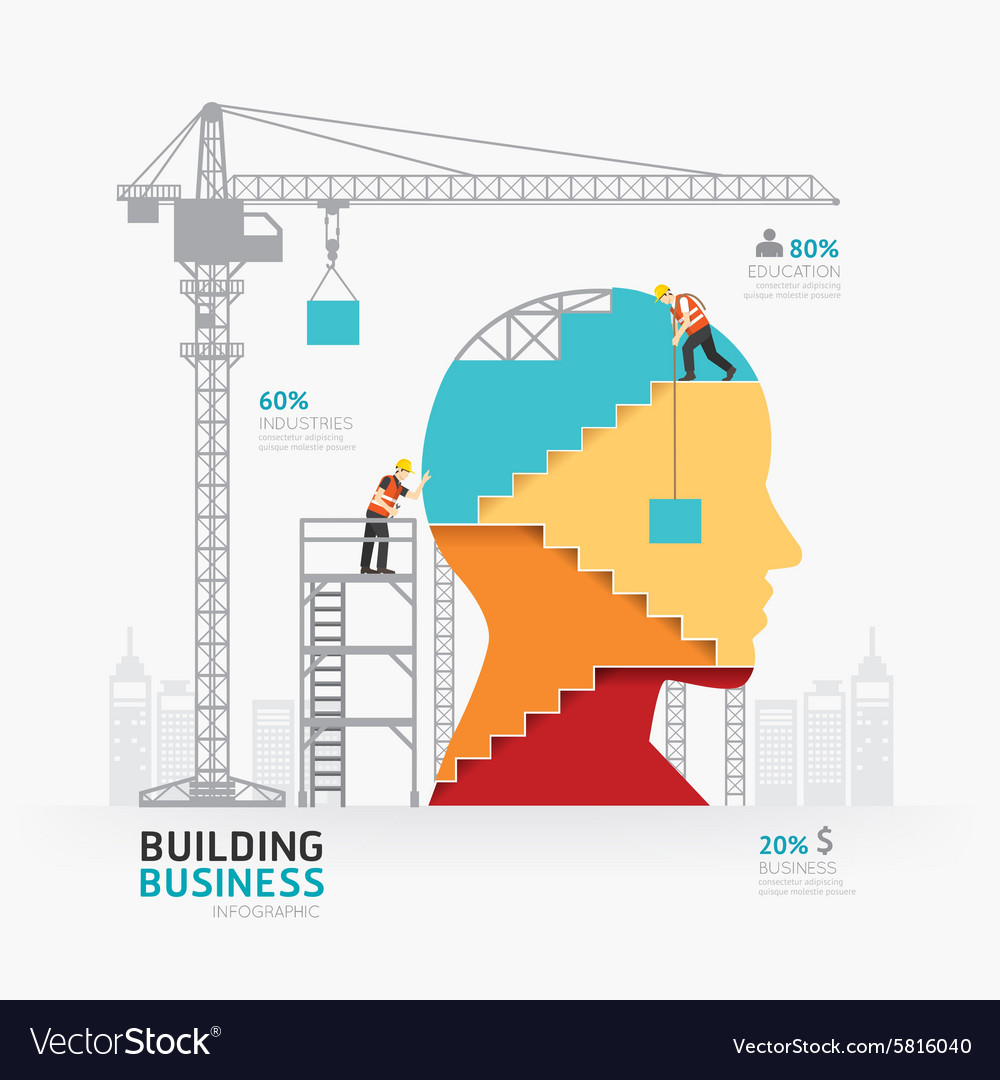 Infographic business head shape template design vector image