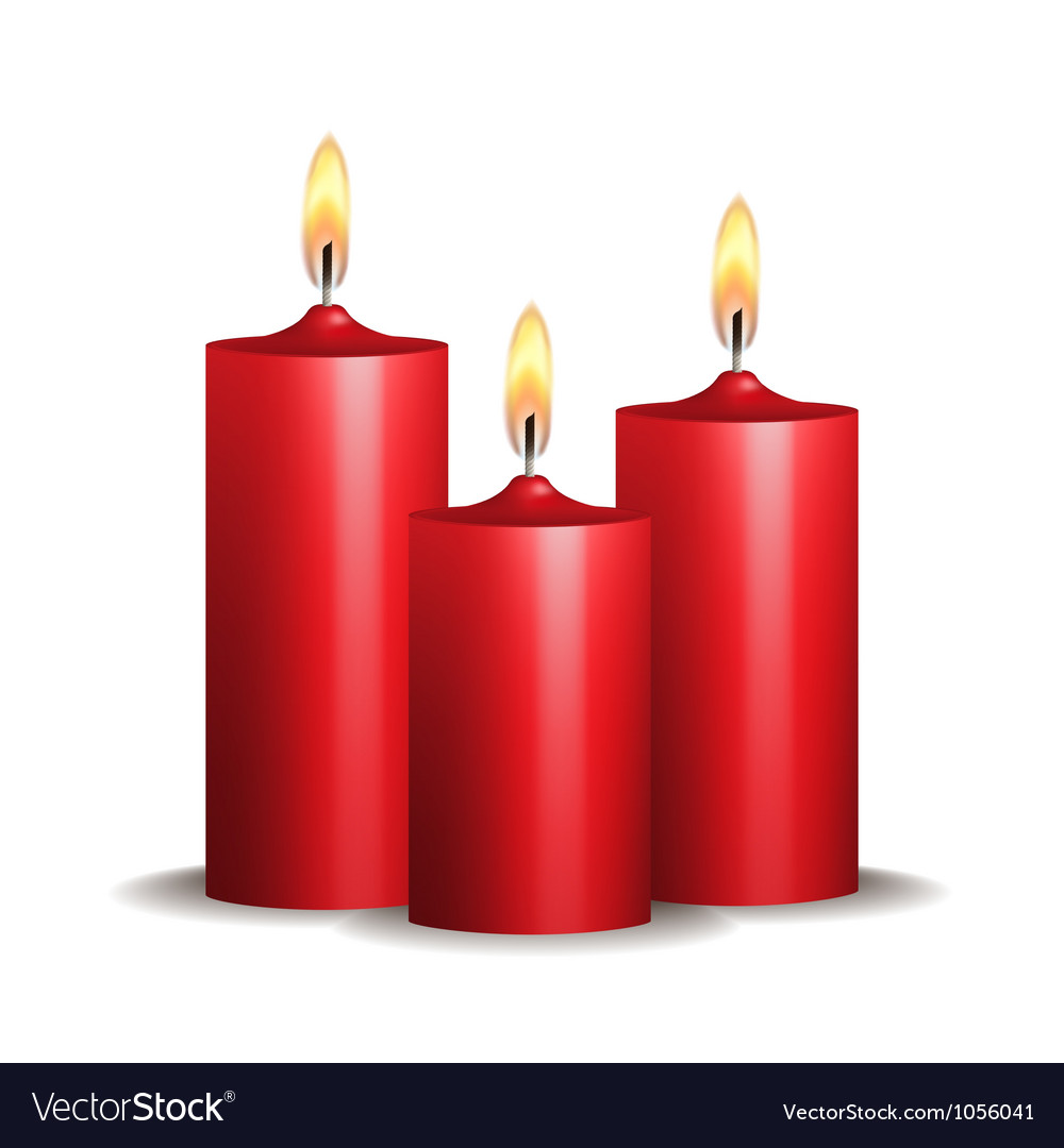 Three red burning candles on white background vector image